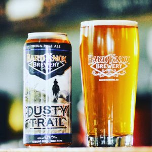 Hard Knox Brewery Dusty Trail India Pale Ale Beside Freshly Poured Pint