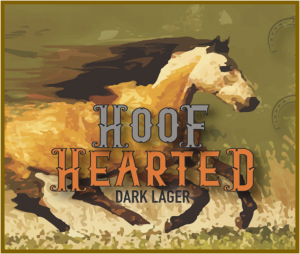 Hard Knox Brewery Craft Beer Hoof Hearted Black Lager Poster with Horse Galloping in Background